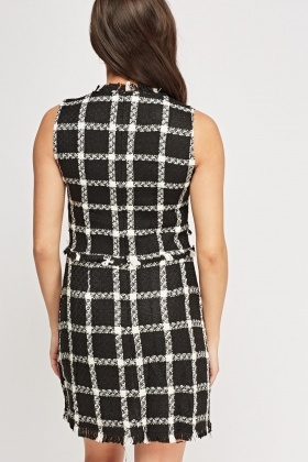 Checked Grid Woven Dress