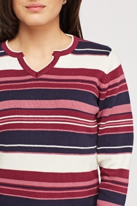 Cut Out Neck Striped Knitted Jumper