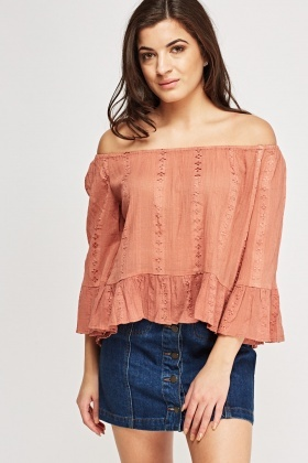 Frilled Trim Off Shoulder Top