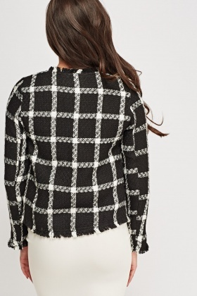 Fringed Trim Checked Grid Woven Blazer