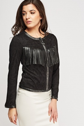 Mesh Overlay Fringed Jacket