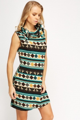 Cowl Neck Knitted Dress