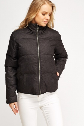 High Neck Speckled Puffa Jacket