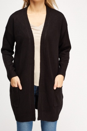 Knitted Open Front Long Cardigan