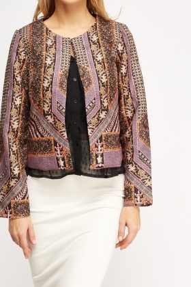 Mixed Print Casual Blazer