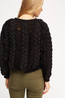 Plait Knitted Distressed Jumper