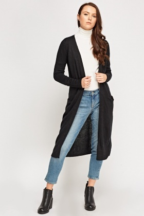 Open Front Long Knitted Cardigan