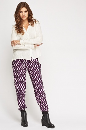 Contrast Light Weight Printed Trousers