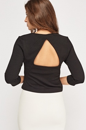 Cut Out Back Textured Top