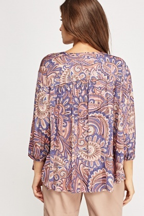 Paisley Print Purple Top