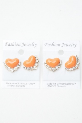 2 Pairs Of Diamante Heart Stud Earrings