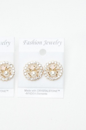 2 Pairs Of Diamante Spider Earrings