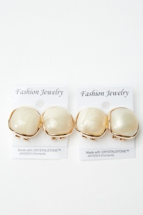2 Pairs of Stud Clip Marble Earrings