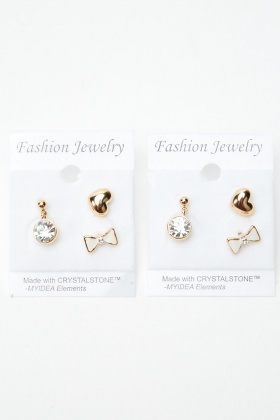 3 Pairs Of Mixed Stud Earrings