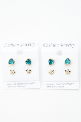 4 Pairs Of Encrusted Stud Earrings