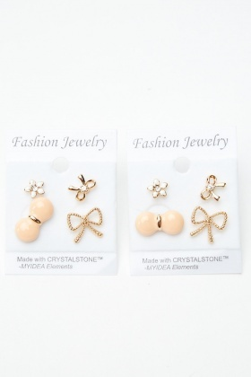 4 Pairs Of Mixed Bow Stud Earrings