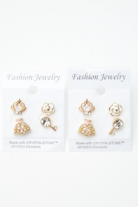4 Pairs Of Mixed Princess Stud Earrings