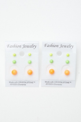 6 Pairs Of Round Neon Stud Earrings