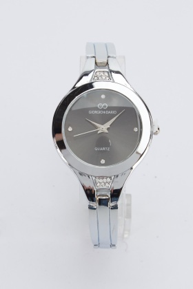 Diamante Detail Metal Watch