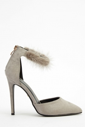 Faux Fur Ankle Strap Court Heels