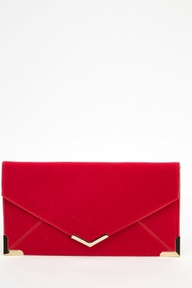 Velveteen Envelope Clutch Bag