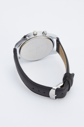 Faux Leather Strap Large Face Watch