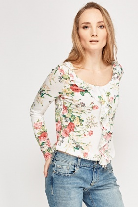 Frilled Floral Print Top