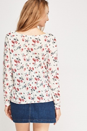 Frilled Rose Printed Top