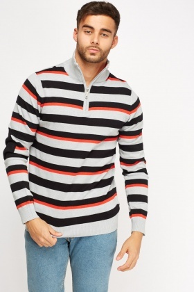 High Neck Stripe Sweater
