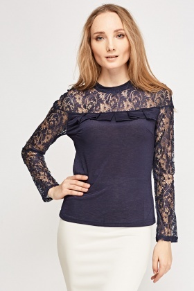 Lace Frilled Contrast Top