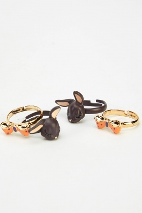 Set Of 4 Mixed Bow Rings