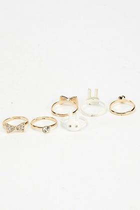 Set Of 6 Mixed Bunny Rings