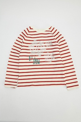 Snowflake Contrast Striped Top