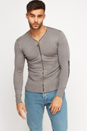 Zip Front Elbow Patch Cardigan