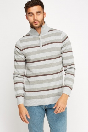 Zip Neck Stripe Sweater