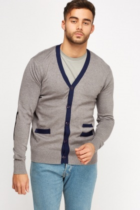 Button Up Contrast Trim Cardigan