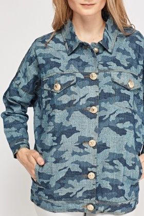 Camouflage Printed Denim Jacket