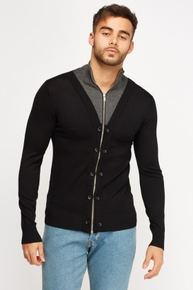 Contrast Insert Zip Up Cardigan