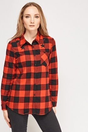Embroidered Start Checked Shirt