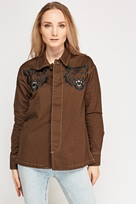 Embroidered Tiger Casual Jacket