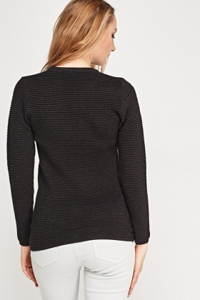 Metallic Insert Ribbed Jumper