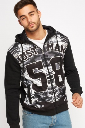 Printed Front Hooded Jumper