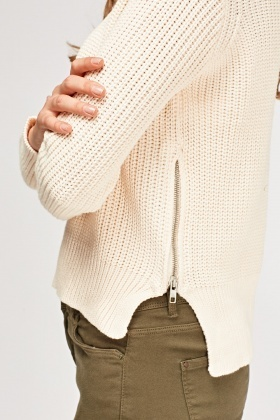 Cable Knit Zip Side Jumper