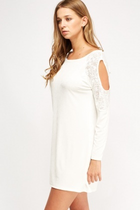 Cream Cold Shoulder Basic Dress