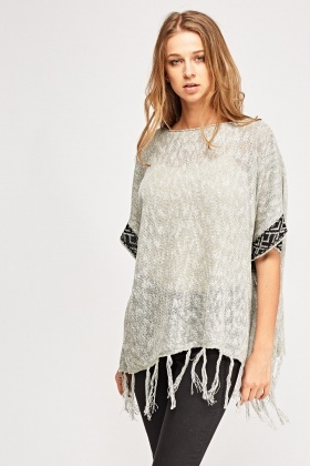 Loose Knit Fringed Hem Box Top