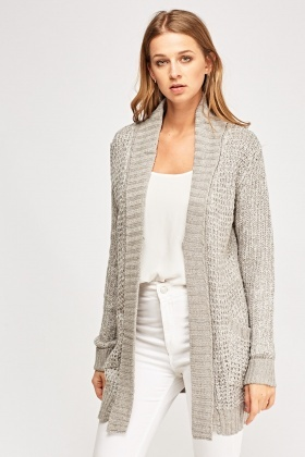 Open Front Cable Knit Cardigan