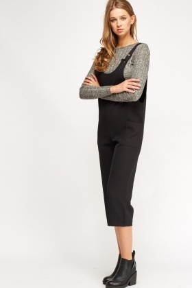 Pinafore Black Cropped Jumpsuit