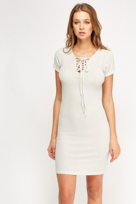 Textured Lace Up Neck Dress
