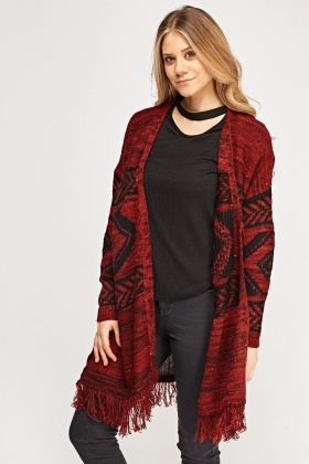 Aztec Knitted Fringed Hem Cardigan