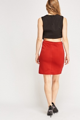 Contrast Front Basic Skirt